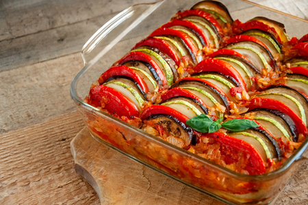 Ratatouille - Traditional Dish Of Provencal Cuisine. Healthy Vegetable Food. Wooden Background 写真素材