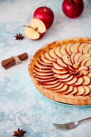Apple Pie. Tart on a plate with spice cinnamon and anise star on light blue background