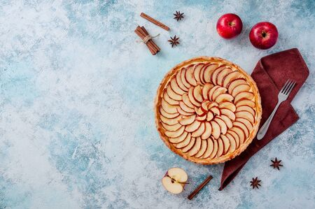 Apple Pie. Tart on a plate with spice cinnamon and anise star on light blue background. Copy space for your text 스톡 콘텐츠