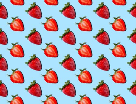 Seamless Pattern of Strawberry on Blue Background. Food concept. Summer minimalism. Flat lay