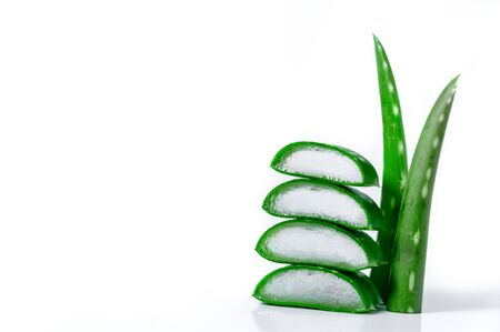 Slices and Leaves Aloe Vera Isolated on White Background . Cosmetics and Herbal Medicine Concept.