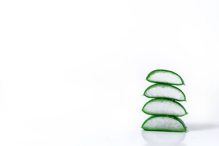 Slices Aloe Vera Isolated on White Background . Cosmetics and Herbal Medicine Concept.