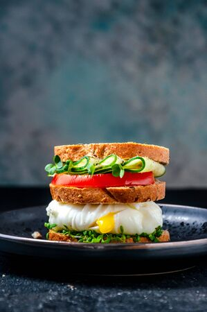 Homemade Healthy Sandwich with Wholegrain Bread, Poached Egg Liquid Yolk, Cucumber, Tomato and Micro Herbs Watercress Salad on Plate