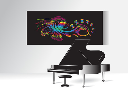 article of furniture: Interior  Abstract picture with butterflies and a piano  Illustration