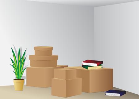 verhuis dozen: Box Verhuizen, dozen en boeken in een interieur Stock Illustratie
