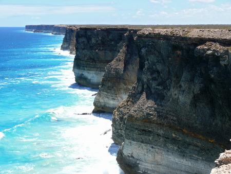 breakaway: Breakaway, high rocky  seaside with surf of the National park Nullarbor.  South Australia.