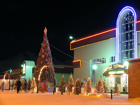 NADYM, RUSSIA - DESEMBER 20, 2005: New Year. Decorated Christmas tree with garlands in Nadym, Russia - December 20, 2005. The shopping center. An unknown woman. Editorial