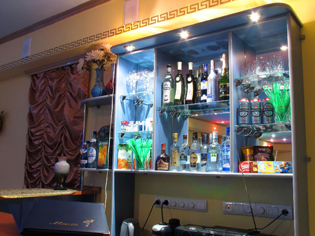 Nadym, Russia - March 30, 2006: Restaurant. Interior space. Bar with a varied selection of booze.