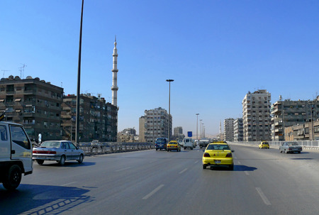 SYRIA, DAMASCUS - NOVEMBER 5: View of the city, buildings, roads with cars in Syria, Damascus - November 5, 2008.
