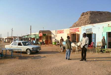 house donkey: WADI - HALFA, SUDAN - NOVEMBER 19, 2008: Street in the city in Wadi - Halfa, Sudan - November 19, 2008. Unfamiliar city residents to rest and work. Donkey harnessed to a cart. Parked car. House.