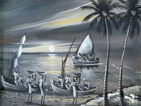 blacks: Black and white drawing of ethnic life in Africa, Mozambique. Landscape nature. River. People sail in the boat.
