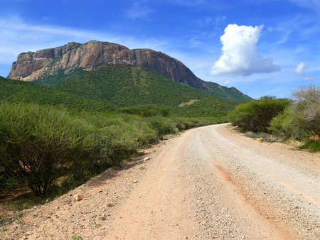 uplands: The mountain scenery. The road. Africa. Kenya. Stock Photo