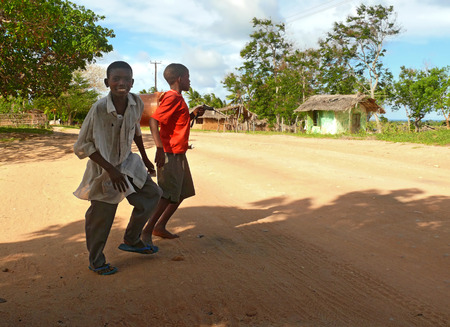 LINDI, TANZANIA - DESEMBER 2, 2008: the Village. Two unfamiliar boys cross the road in Lindi, Tanzania - December 2, 2008. Residential houses around.