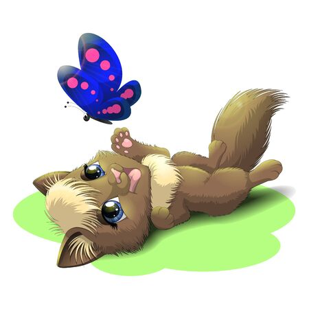 Illustration of lying cute kitten playing with a blue butterfly Stok Fotoğraf