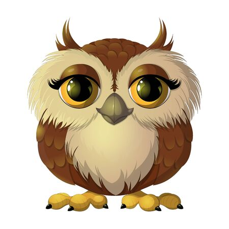 Cute brown owl with big eyes