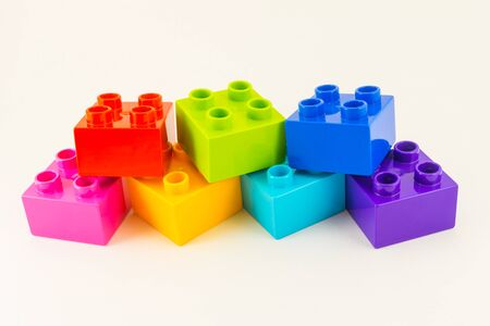 yellow lego block: Colorful rainbow Building plastic toy Blocks Isolated On White