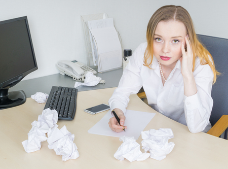 new idea: Woman in office looking for new idea