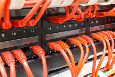isp: Close up of red internet  network cables connected to black switch in data center
