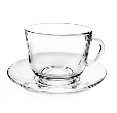 ware: Transparent empty tea cup on white background