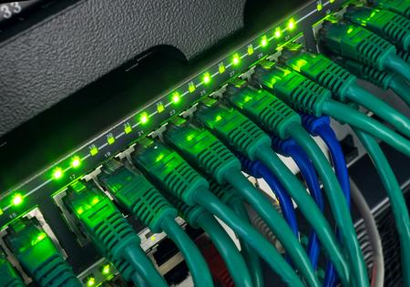 leds: Primer plano de los cables de red verde y azul conectados al panel de conexión del interruptor negro brillan en la oscuridad