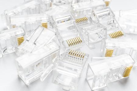 rj 45: Transparent ethernet internet rj-45 connectors, tehnology background on white
