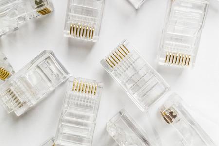 tehnology: Transparent ethernet internet rj-45 connectors, tehnology background on white