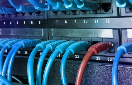 utp: Server rack with blue internet patch cord cables connected to black patch panel in server room horizontal gradient