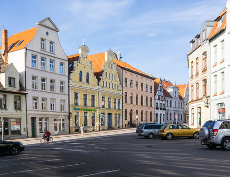 residential idyll: WISMAR, GERMANY - February 21, 2017: View of Wismar Old Town streets with vintage houses