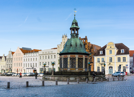 sight seeing: WISMAR, GERMANY - February 21, 2017: View of the Market Square in the Old Town of Wismar