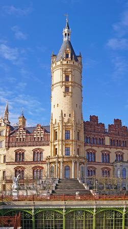 mecklenburg western pomerania: Schwerin Castle and blue sky with clouds, Mecklenburg Western Pomerania, Germany Stock Photo