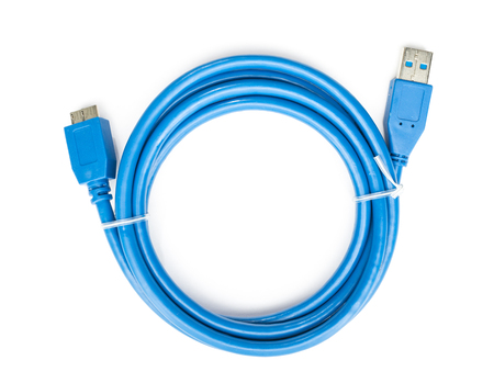 wire: Blue cable usb to micro usb 3 3 isolated on white background