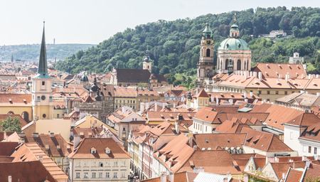 Panoramic view of Prague from the Prague Castle, Czech Republic and St. Nicholas Church Mala Strana