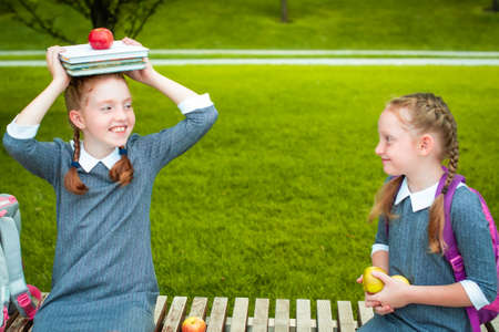 two cute schoolgirls smiling, holding books and an apple on head. back to school. redheads pigtails Stockfoto