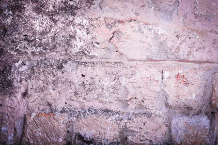 old brick wall. cracked concrete, mold. pink, brown, purple texture vintage background rustic style