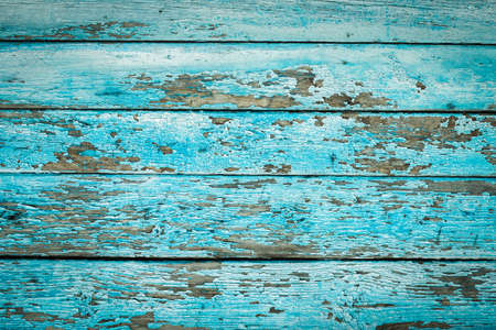 Green tide, blue old wood texture backgrounds. horizontal stripes, boards. roughness and cracks. Stockfoto