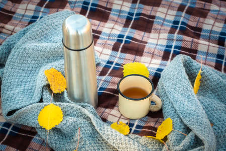 picnic in the autumn forest. on a plaid retro , mug and scarf. orange leaves. fall has come.