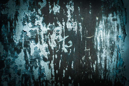 dark Green tide, blue, texture. old rusty wall backgrounds. roughness and cracks. frame, vignette Stockfoto