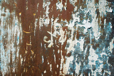 dark Green tide, blue, orange texture. old rusty wall backgrounds. roughness and cracks. frame, vignette Stockfoto