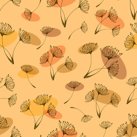 Seamless dandelions pattern on the orange color background. Isolated background.