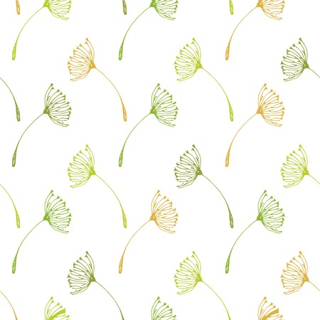 Seamless dandelions pattern. Isolated background. Vector illustration.