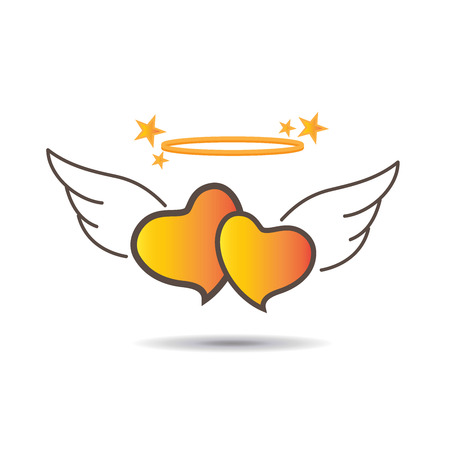 Two flying gradient yellow hearts with nimbus and stars Illustration