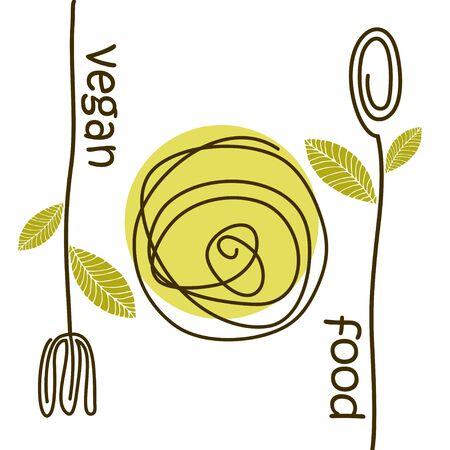 vegan food for menu, broshure. Isolated background. Vector illustration. Ilustracja