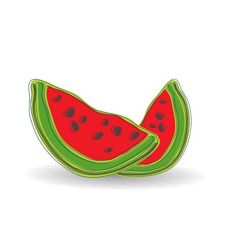 Cartoon watermelon for menu, broshure. Isolated background. Vector illustration. Ilustração