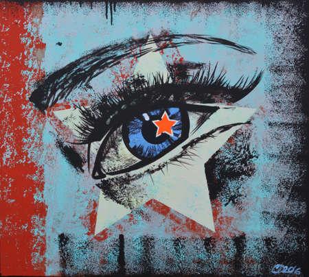 star eye graffiti Standard-Bild