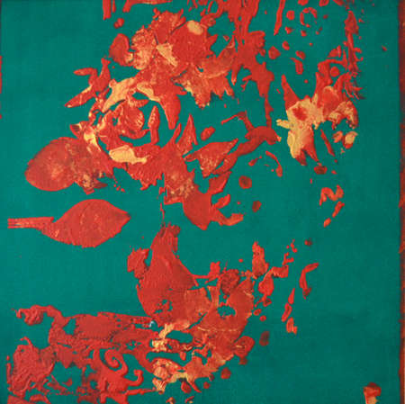 Painting. Beautiful abstract flowers on a green background. Standard-Bild