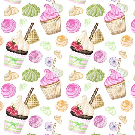 Bright colorful Sweet delicious watercolor pattern with cupcakes. Watercolor hand drawn illustration. Stock fotó
