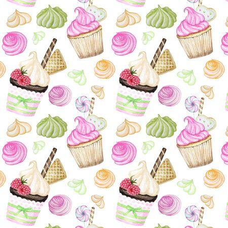 Patrón de acuarela delicioso dulce colorido brillante con cupcakes. Ilustración de dibujado a mano de acuarela. Foto de archivo