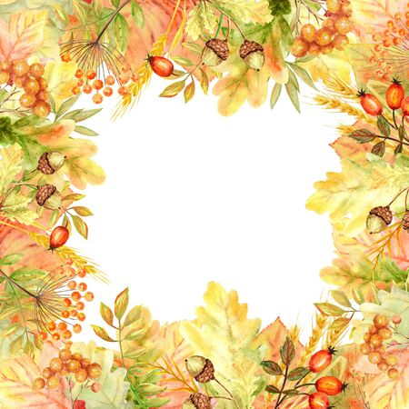 Autumn leaf Frame isolated on a white background. Watercolor autumn leaf hand drawn illustration.