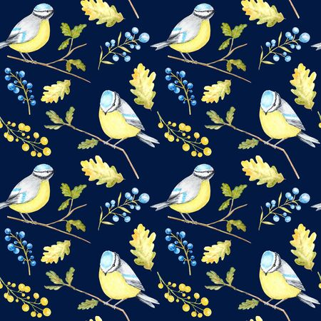 Watercolor Seamless pattern with Bird BlueTit sitting on the oak Branch, isolated on blue background.