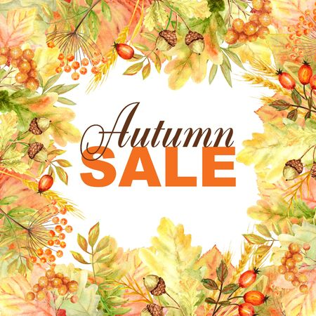 Autumn Sale text Frame isolated on a white background. Watercolor autumn leaf hand drawn illustration for posters design 写真素材